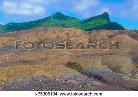 Stock Photo of Land of seven colours, Chamarel, south Mauritius.