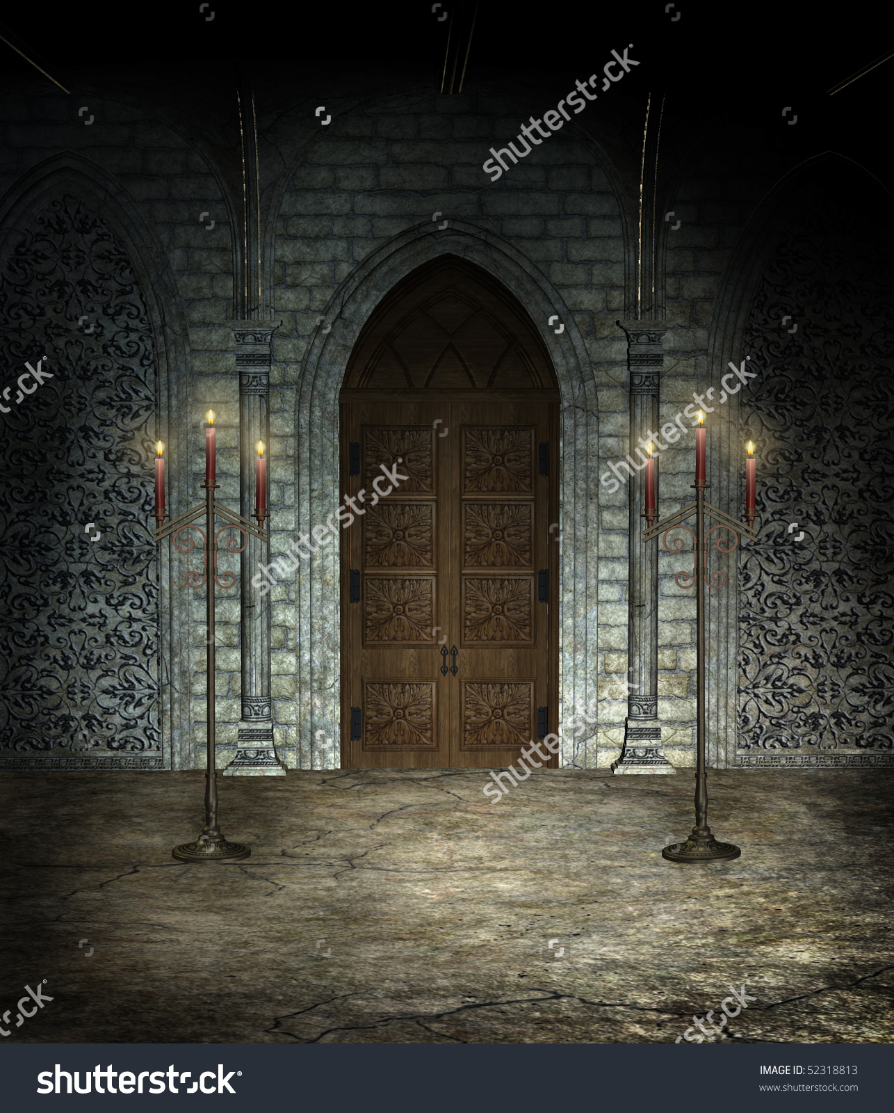 Gothic Cathedral Chamber Wooden Door Stock Illustration 52318813.