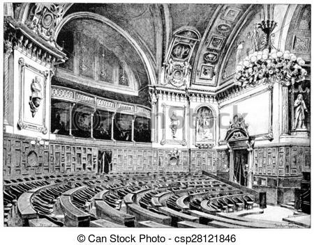 Drawing of Senate Chamber, vintage engraving..
