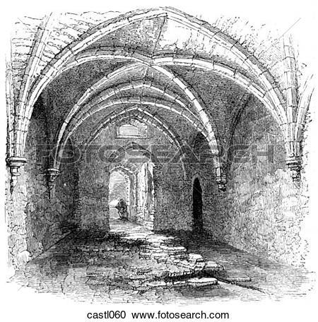 Stock Illustrations of Arched Chamber under Chepstow Castle, Wales.