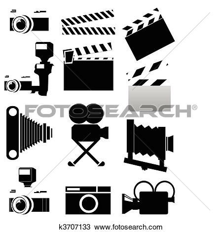 Clipart of Silhouettes of a photo and video of chambers of black.
