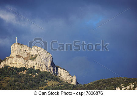 Picture of Mountain and cross of Nivolet near Chambery, France.