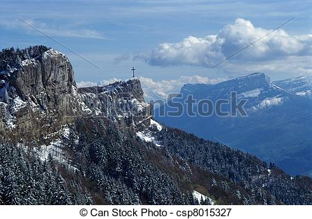 Picture of Cross and mountains near Chambery, France.