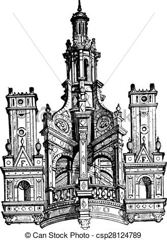 Vector of Lantern from Chambord Castle, vintage engraving.