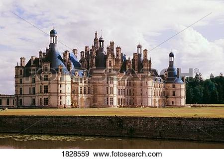 Stock Photograph of Chambord Château, Loire River valley, France.