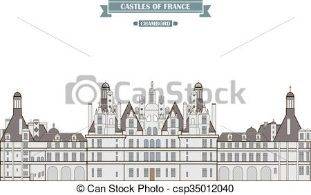 EPS Vector of Chambord, France. The medieval castle, a monument of.