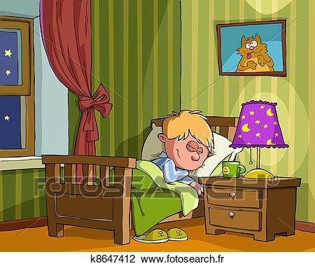 Childrens, chambre à coucher Clipart.