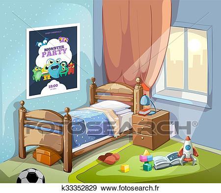 Childrens, chambre à coucher, intérieur, dans, dessin animé, style.,  vecteur, illustration Clipart.