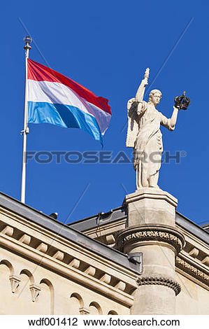 Stock Photo of Luxembourg, View of Chambre des Deputes with flag.
