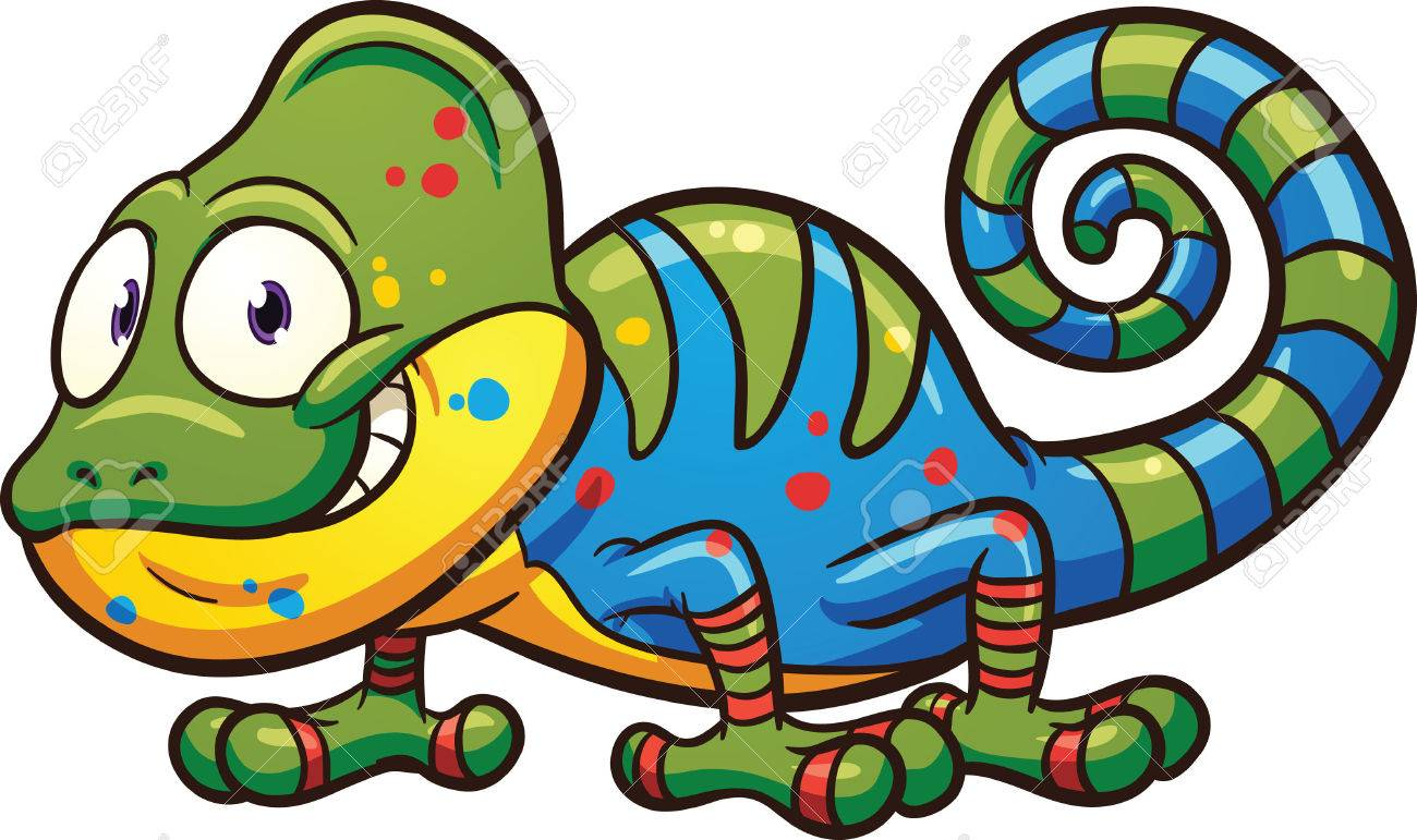 Cartoon chameleon. Vector clip art illustration with simple gradients.
