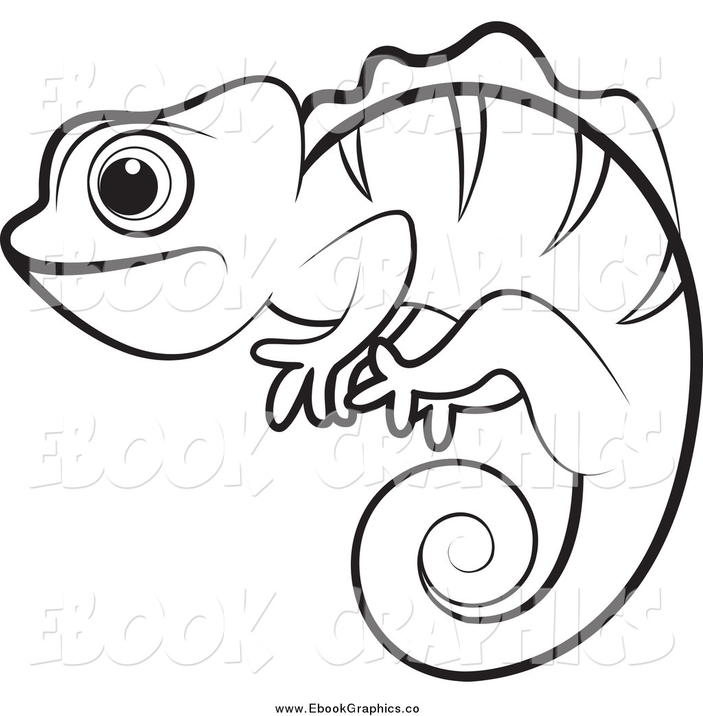 Chameleons Black And White Clipart.