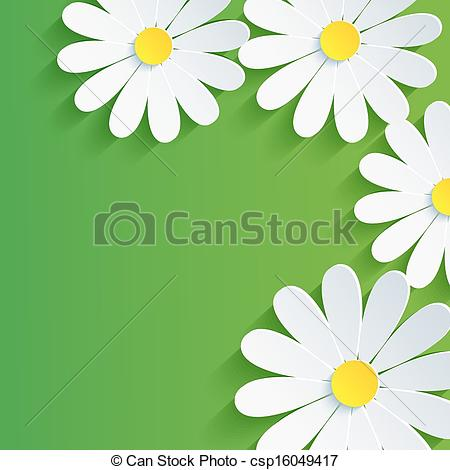 Vector Clip Art of 3d flower chamomile, spring abstract background.