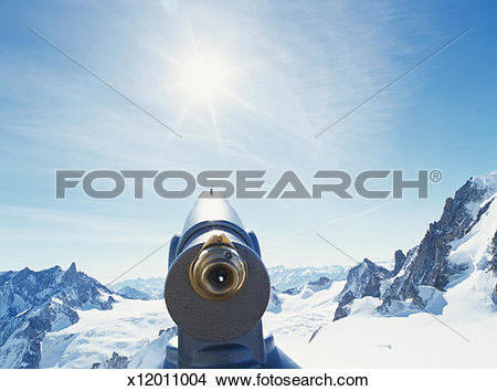 Stock Photo of France, Chamonix, Vallee Blanche, telescope looking.