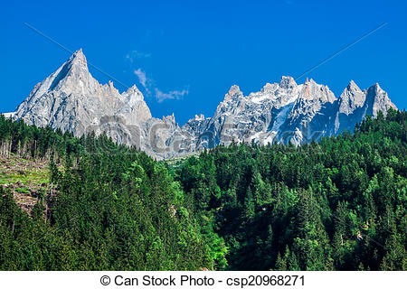 Picture of View of Dru Peak in Chamonix, Alps, France csp20968271.