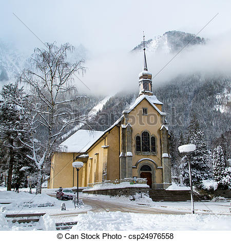 Stock Images of Church in Chamonix town in winter.