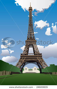 Eiffel Tower From the Champ De Mars Clip Art Image.