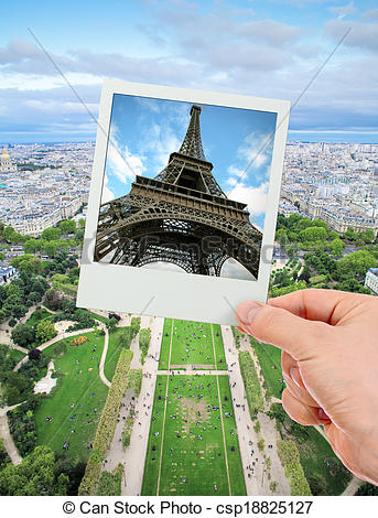 Stock Photo of Polaroid frame of Eiffel tower over The Champ de.