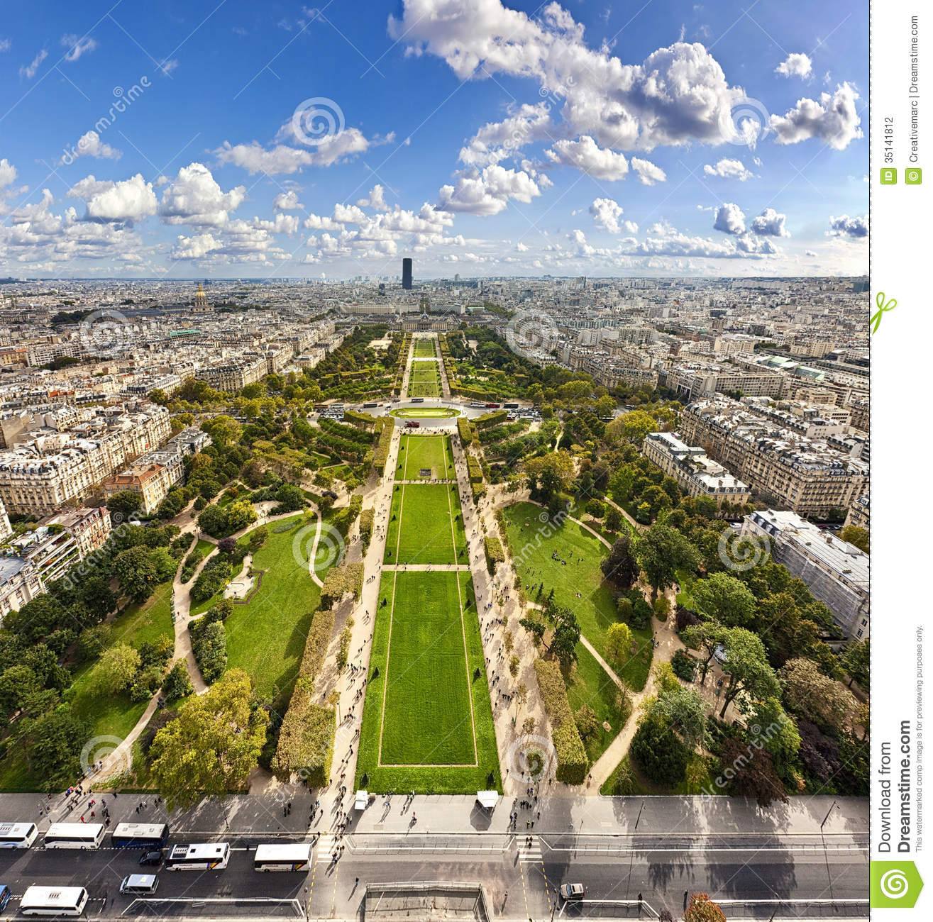 Champ De Mars From The Eiffel Tower Stock Photography.
