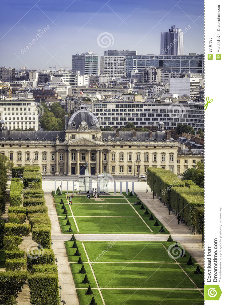 Aerial View On Champ De Mars In Paris Royalty Free Stock Image.