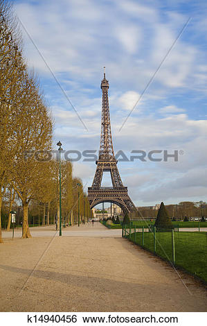 Stock Images of Eiffel tower from Champ de Mars after sunrise.