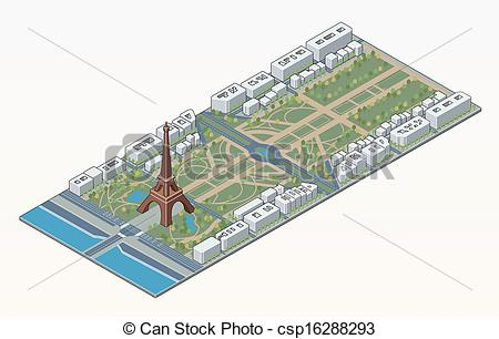 EPS Vectors of Isometric Eiffel tower and Champ de Mars in Paris.