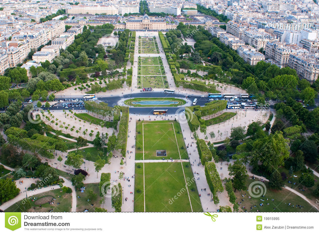 Aerial View On Champ De Mars And Ecole Militaire Royalty Free.
