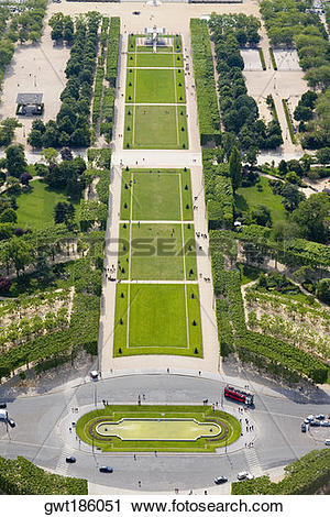Stock Photography of Aerial view of a traffic circle, Champ De.