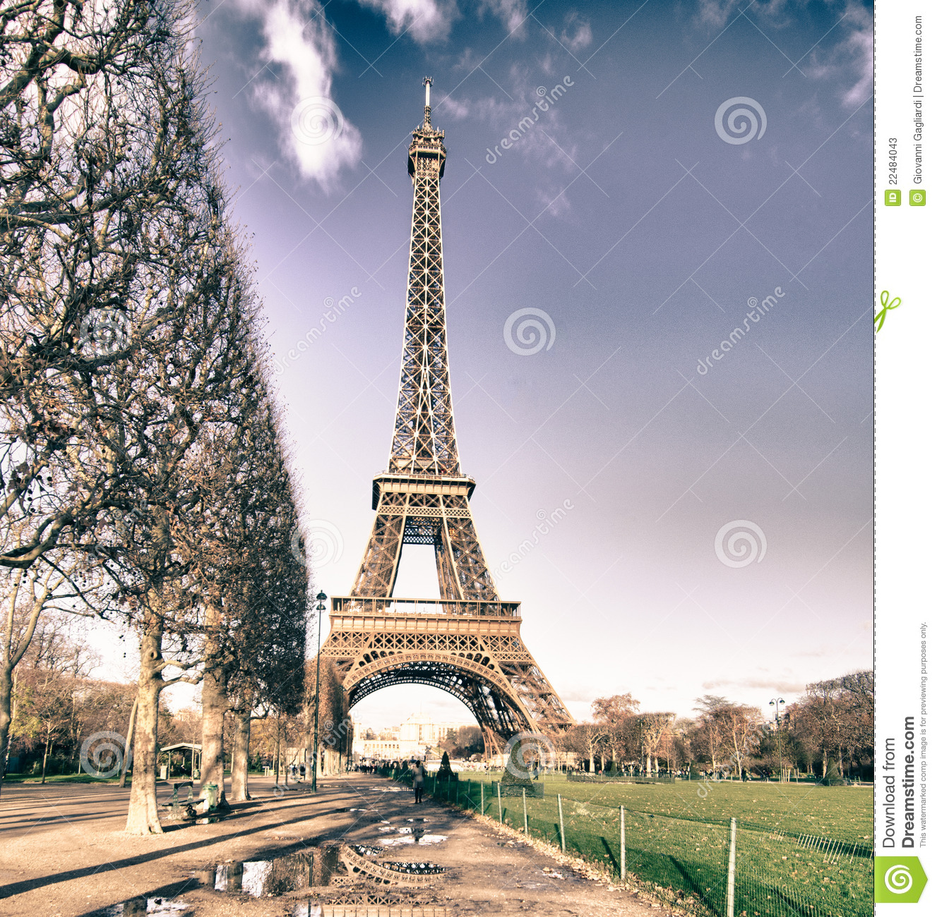 Eiffel Tower View From Champs De Mars Gardens Stock Photos.