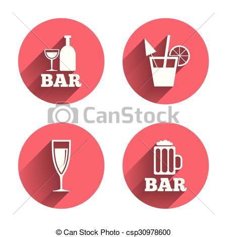 Vector Clipart of Bar or Pub icons. Glass of beer and champagne.
