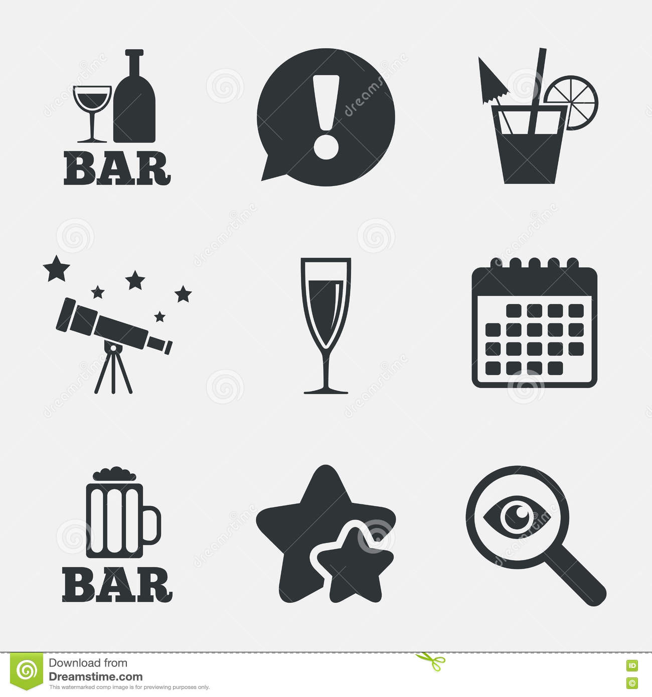 Bar Or Pub Icons. Glass Of Beer And Champagne. Stock Vector.