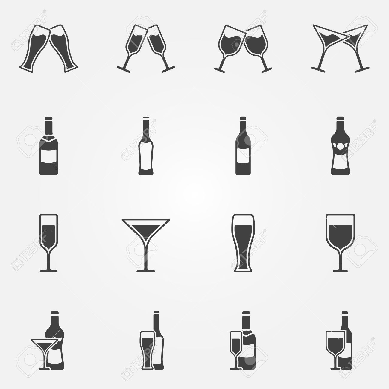 Drink Alcohol Beverage Icons.