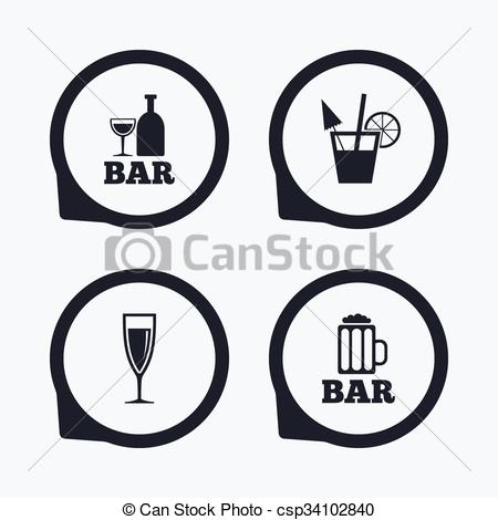 EPS Vector of Bar or Pub icons. Glass of beer and champagne..
