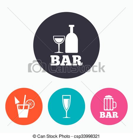 Vector Illustration of Bar or Pub icons. Glass of beer and.