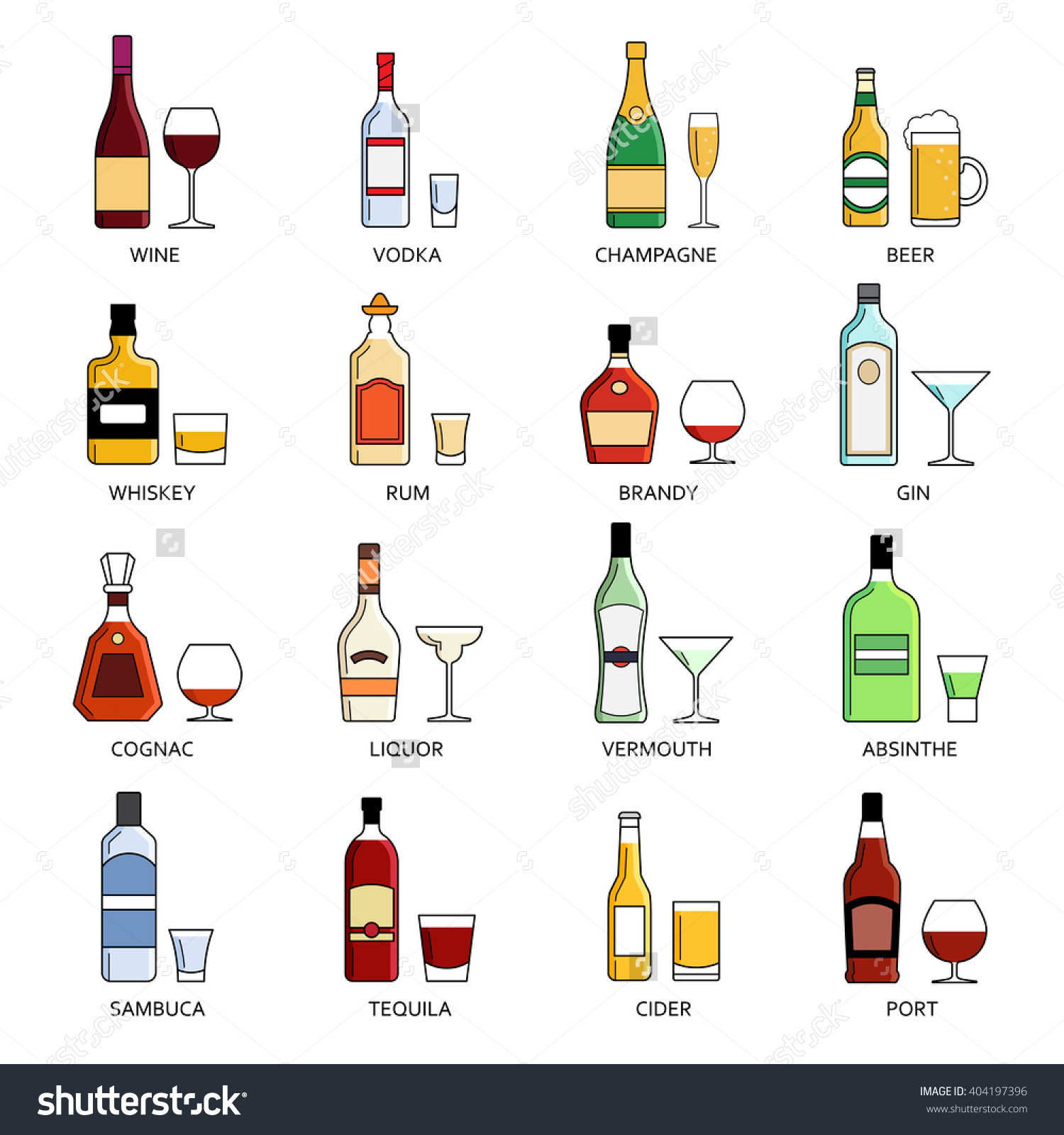 Vector Alcohol List Icons Collection Bar Stock Vector 404197396.