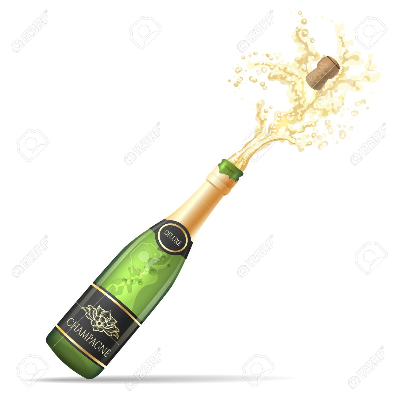Champagne explosion. Champagne bottle pop and fizz vector illustration...