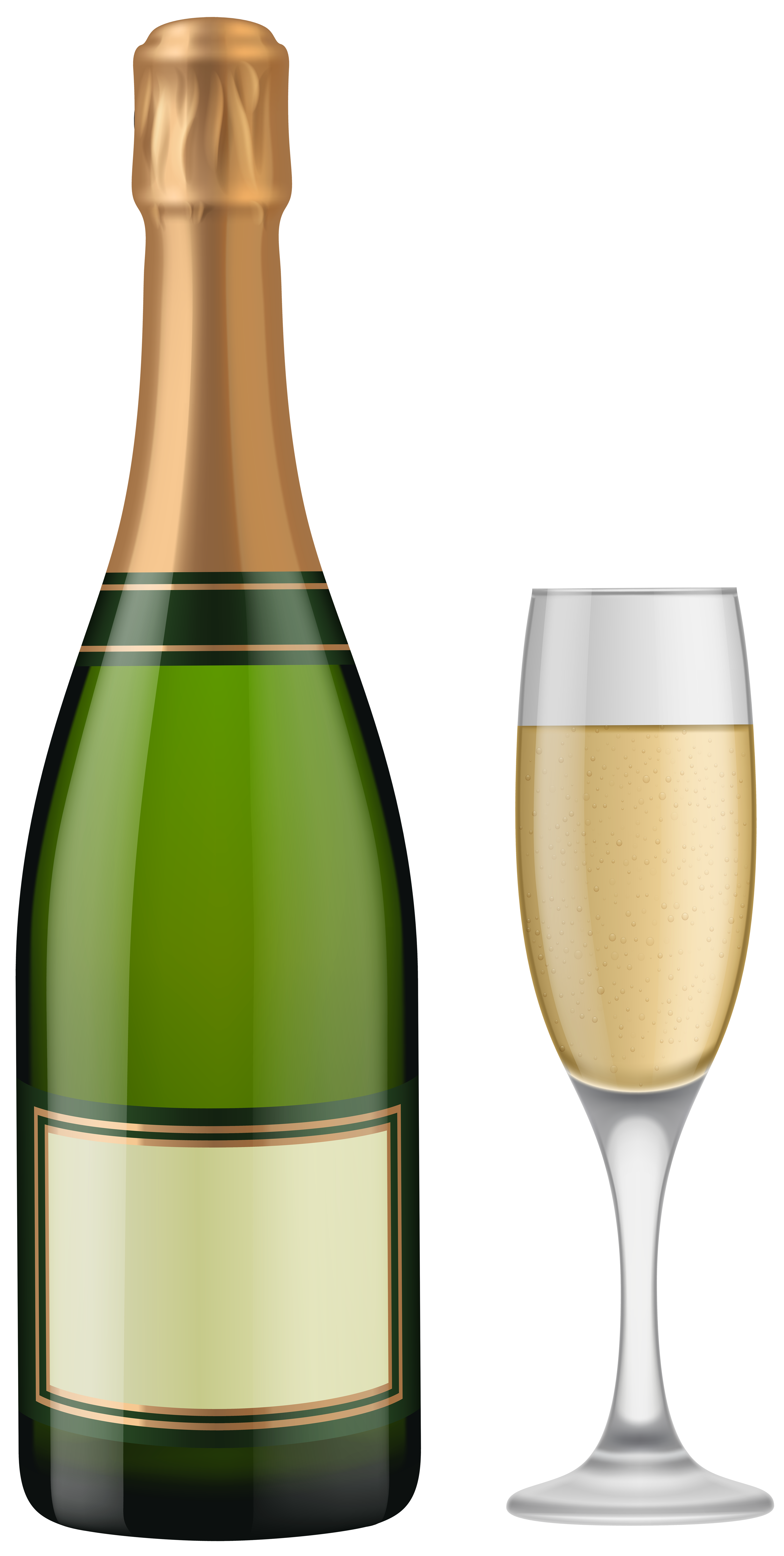 Champagne Bottle and Glass PNG Clip Art.