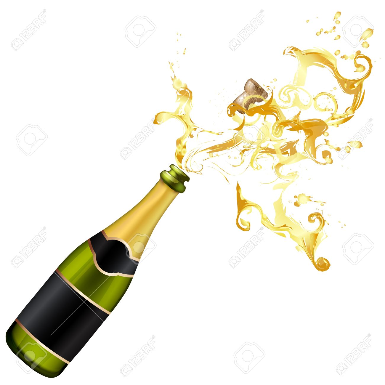 376 Champagne Bottle free clipart.