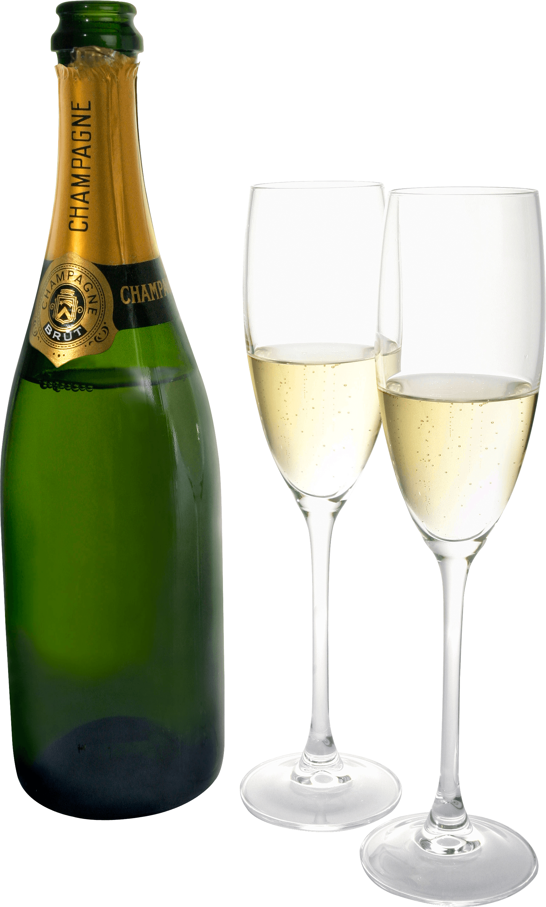 Champagne Two Glasses Bottle transparent PNG.
