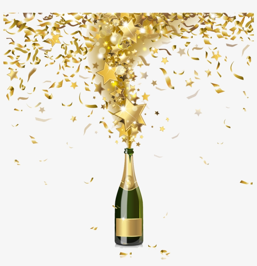 Champagne Bottle Png Background Image.