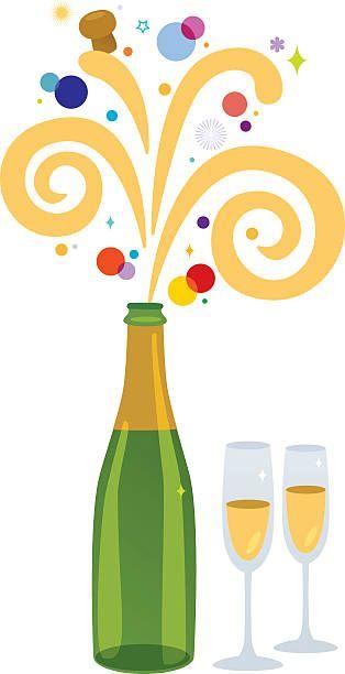 Champagne Bottle Popping Clip Art.