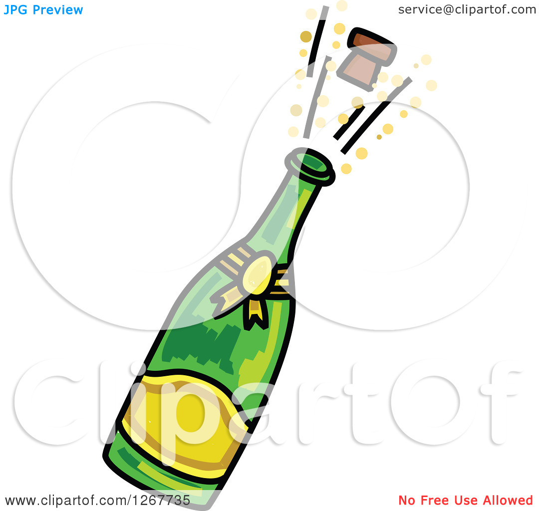 Clipart champagne bottle popping.
