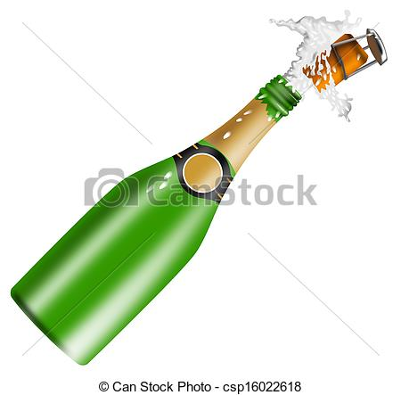 Clipart of Champagne Bottle Open Lid.