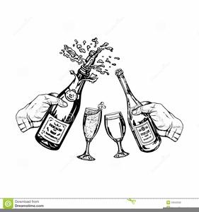 Black And White Champagne Glasses Clipart.