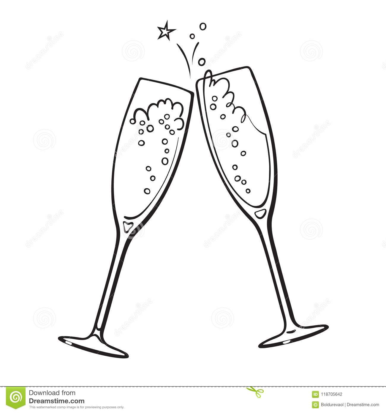 Black And White Sketch Of Two Glasses Of Champagne Stock Vector.