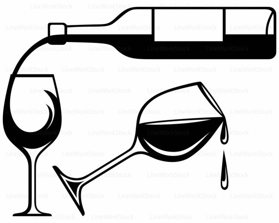 Wine Clipart Black And White.