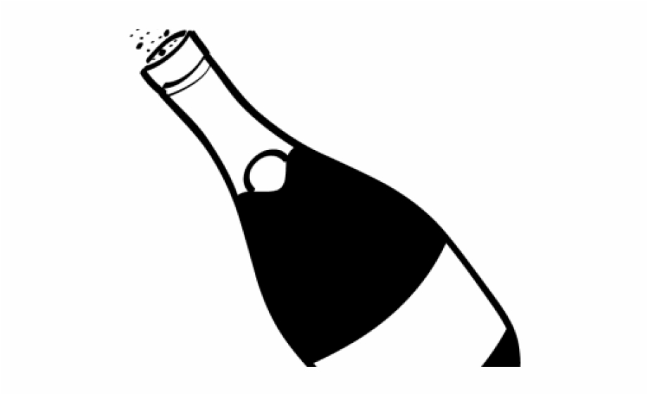 Champagne Bottle Clipart Black And White Free PNG Images & Clipart.