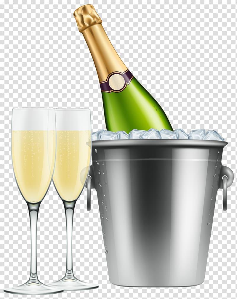 Chilled champagne bottle and two flute glasses art illustration.