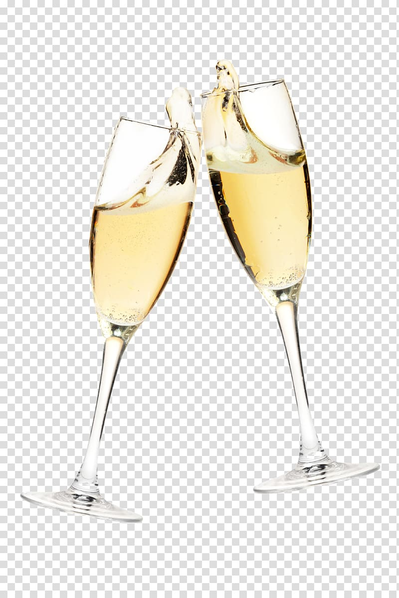 Free champagne toast glass pull transparent background PNG.