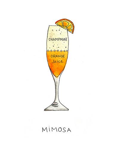 Mimosa Drink Clip Art.