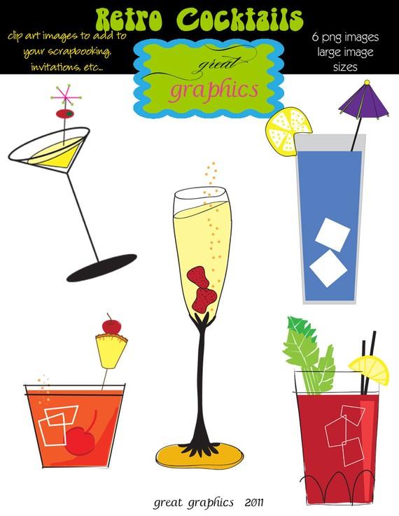 Martini Clip Art, Champagne Clip Art, Drink Clipart, Digital Clip.